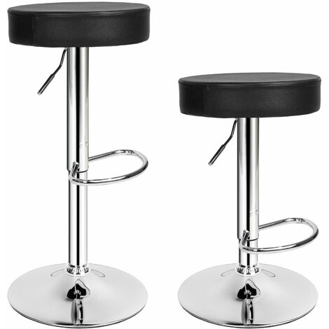 2 bar stools Sebastian made of artificial leather - breakfast bar stools, kitchen stools, kitchen bar stools - black