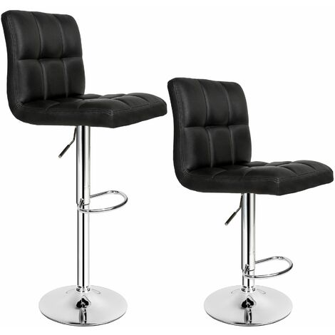2 bar stools Tony made of artificial leather - breakfast bar stools, kitchen stools, kitchen bar stools - black