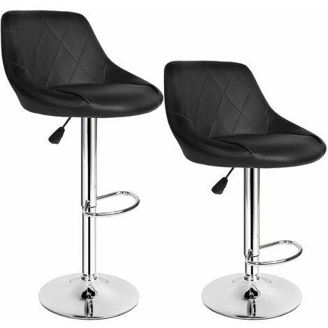 2 bar stools Waldemar made of artificial leather - breakfast bar stools, kitchen stools, kitchen bar stools - black