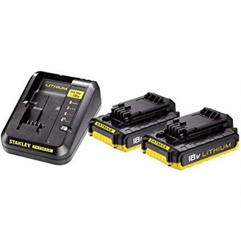 2 baterías 18V Li-Ion 2,0Ah + Cargador 2A STANLEY