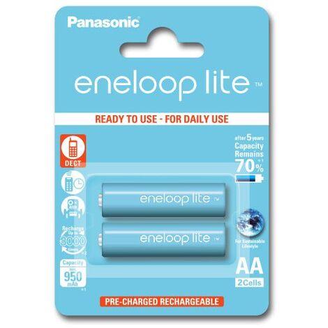 2 batteries de téléphone PANASONIC Eneloop Lite AA NI-MH 1,2V 1000mAh