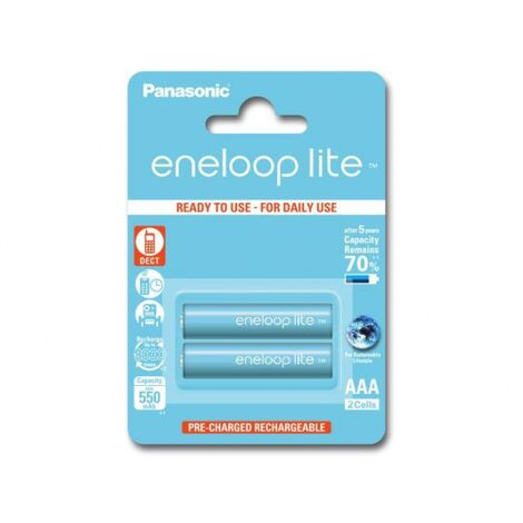2 batteries de téléphone PANASONIC Eneloop Lite AAA NI-MH 1,2V 600mAh