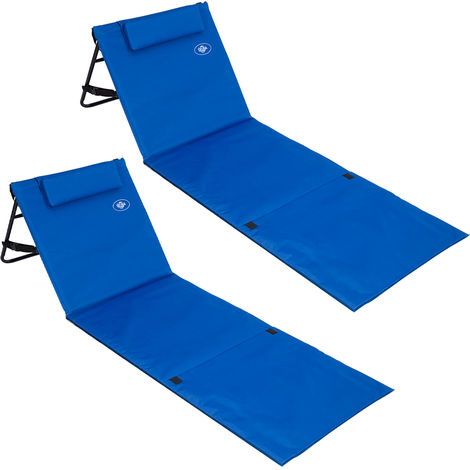2 Beach Mat Padded Adjustable Backrest Outdoor Picnic Holiday Travel Park Travel