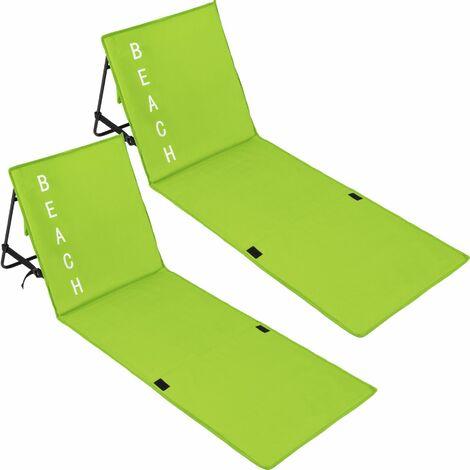 2 beach mats with backrest - folding beach chair, folding beach mat, sunbathing mat