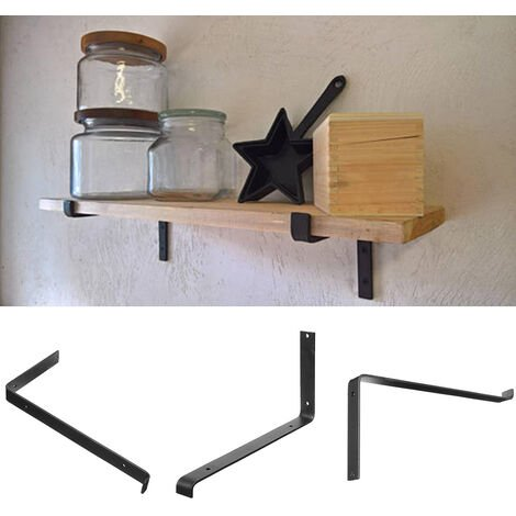 2 Black Cast Iron Wall Shelf Brackets Floating Shelving Support