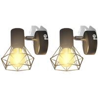 2 Black Industrial Style Wire Frame Wall Sconce with LED Filament Bulb
