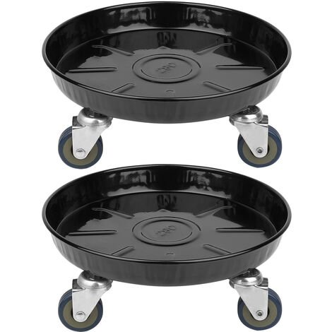 2 Black Plant Dolly Stand Rolling on Wheels Caddy Holder Patio Pots 27cm Large