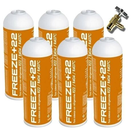 "main image of ""2 Botellas Gas Ecologico Refrigerante Freeze Organico +32 350Gr + Valvula Sustituto R32, R410A"""