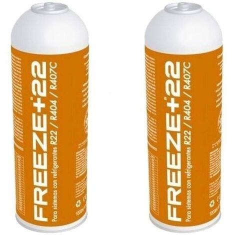 2 Botellas Gas Refrigerante Freeze +22 400Gr Organico Sustituto R22/R404/R407C/