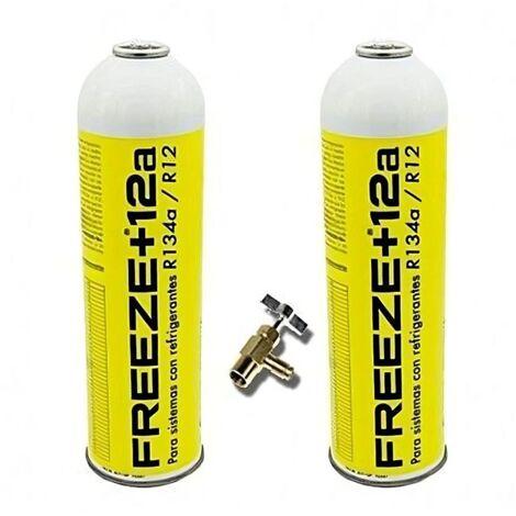 2 Botellas Gas Refrigerante Freeze 445Gr + Valvula Organico Sustituto R12/R134A