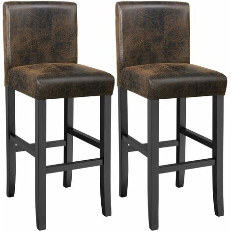 2 Breakfast bar stools made of artificial leather - bar stool, kitchen stool, wooden stool