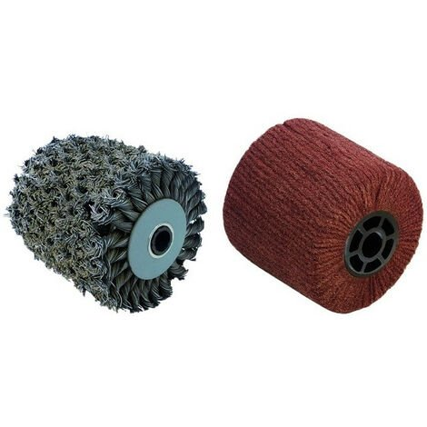 2 Brosses (métal torsadé pour meuler, fibre synthétique pour polir) pour renovateur REX 120C, REX 200, REX-H200 FARTOOLS