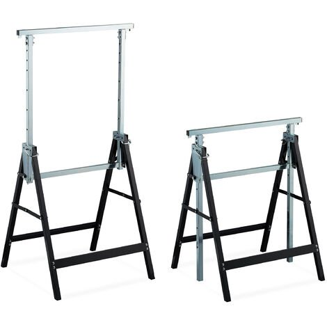 2 Caballetes para Mesa y Trabajos de Bricolaje, Acero, Negro-Plateado, Altura regulable 80-130 cm