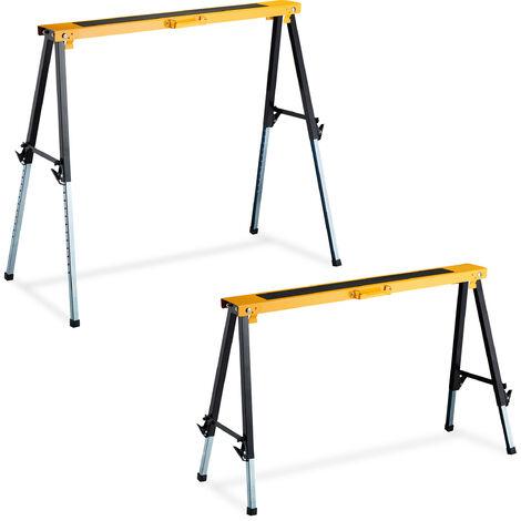 2 Caballetes para Mesa y Trabajos de Bricolaje hasta 250 kg, Acero, Negro-Naranja, Altura regulable 64-91,5 cm