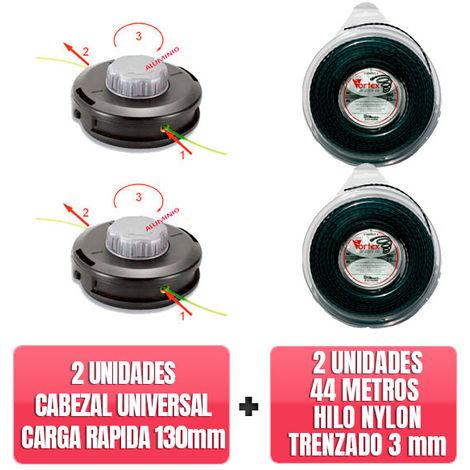 2 Cabezales universal carga rapida TAP N GO 130mm + 2 unidades 44 Metros Hilo nylon trenzado Vortex 3mm