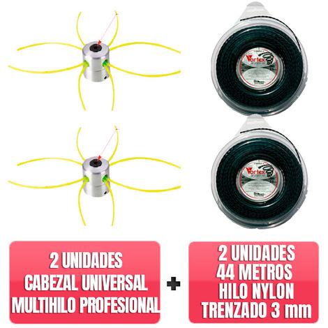 2 Cabezales universal multihilo profesional aluminio + 2 unidades 44 Metros Hilo nylon trenzado Vortex 3mm