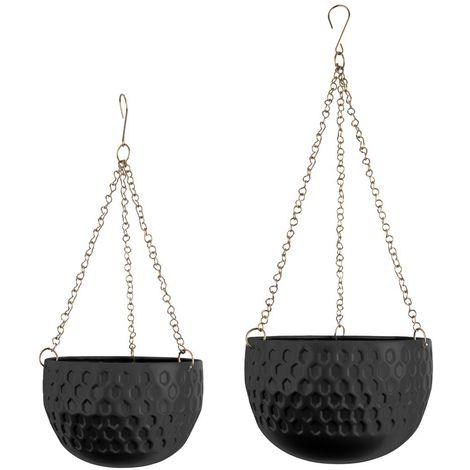 2 Cache-pots suspendus design métal Staunch - Noir
