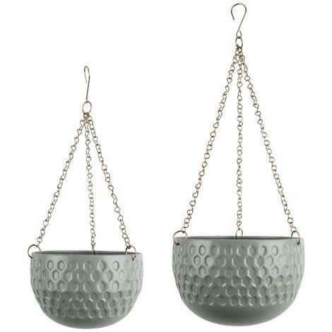 2 Cache-pots suspendus design métal Staunch - Vert jade - Vert