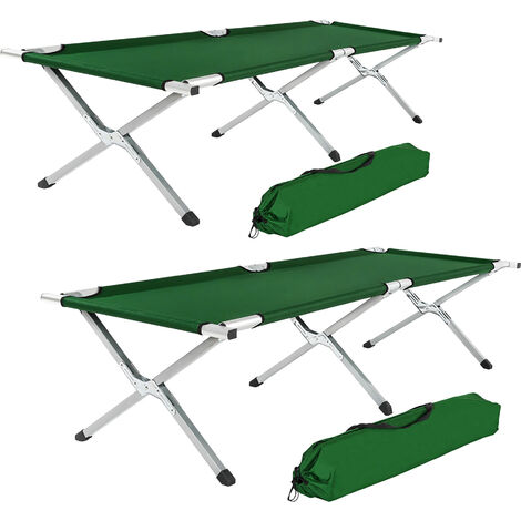 2 camping beds made of aluminium - folding camp bed, single camp bed, camping cot