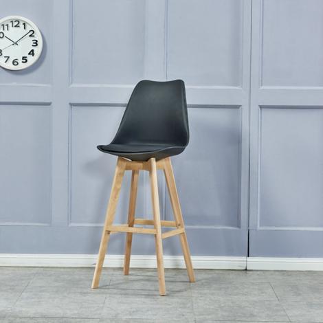 """main image of """"2 chaises de bar de style scandinave noir"""""""
