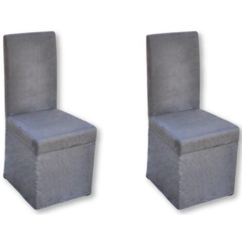 2 Chaises de cuisine salon salle à manger classique grises - Gris