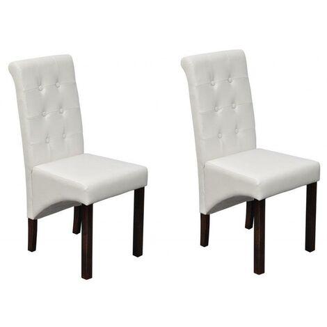 2 Chaises de cuisine salon salle à manger design blanches - Blanc