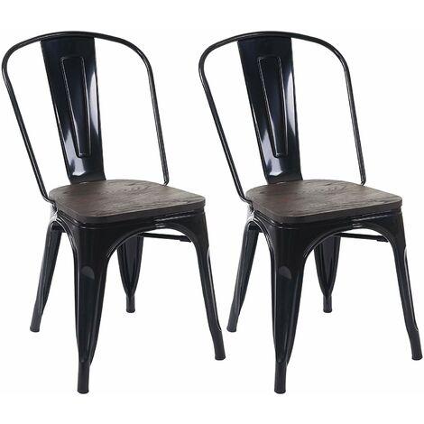 2 chaises de salle à manger style industriel factory métal noir et assise en bois - noir
