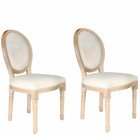 2 Chaises de table design médaillon Eleonor - Beige - Beige
