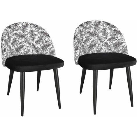 2 Chaises de tables design jungle Natural Wild - Noir - Noir