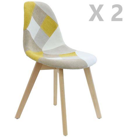 2 Chaises design scandinave Patchwork - Gris - Gris