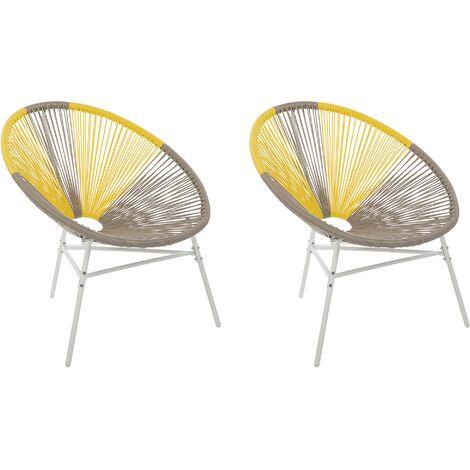 2 chaises design spaghetti en rotin beige et jaune pour salon ou terrasse