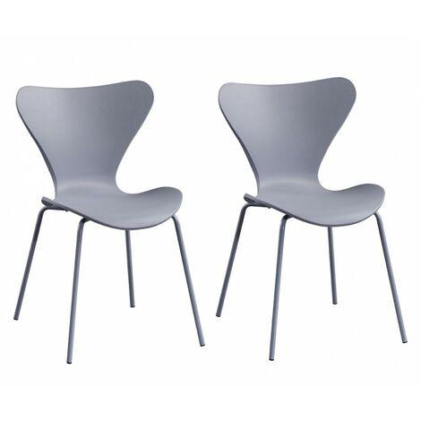 2 chaises grises empilables - Pop - gris