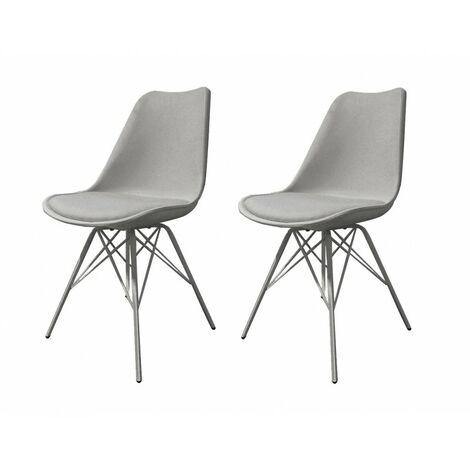 2 chaises grises pieds Design métal - Tomy - gris