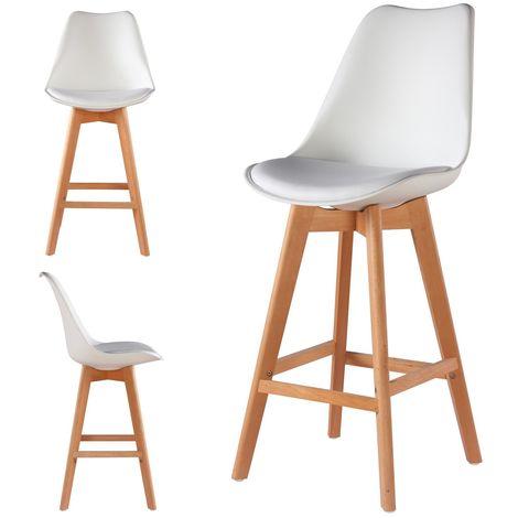 2 Chaises Hautes Tabourets Design Scandinave Blanc - Skagen
