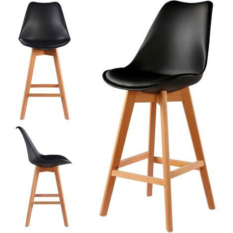 2 Chaises Hautes Tabourets Design Scandinave Noir