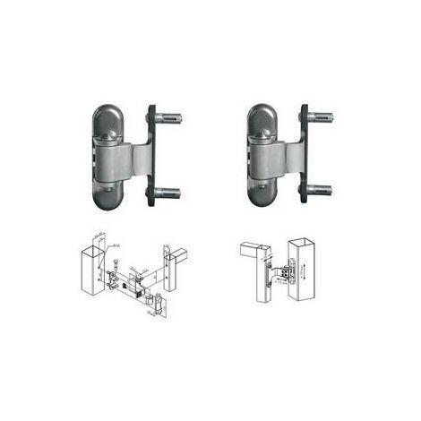 2 Charnières 180° pour porte en métal et alu, réversible, galvanisé à chaud. - LOCINOX - - 3DMVP100P50HDG.