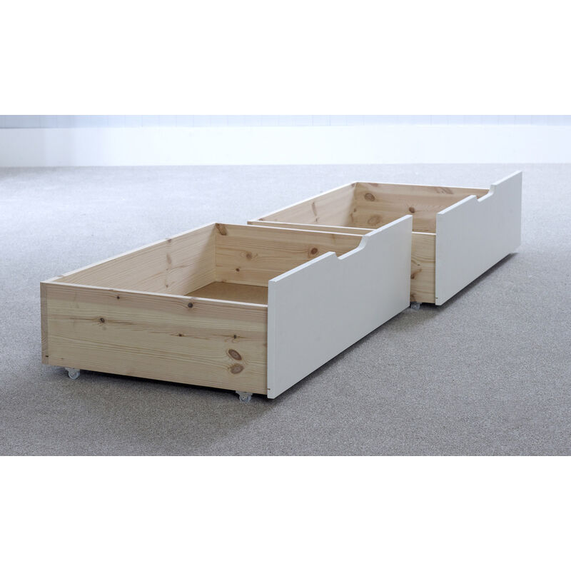 Image of 2 Chester Under-bed Storage Drawers White - BEDMASTER