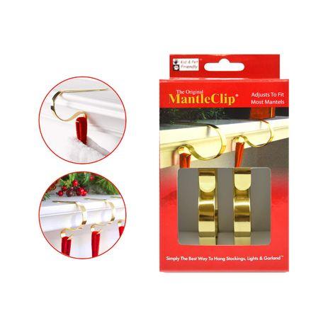 2 Christmas Stockings Lights Garland Holders Mantel Fireplace Gold Brass