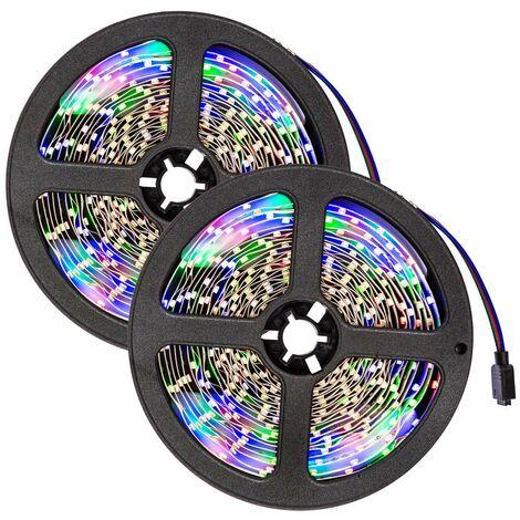 2 cintas LED 5m 300 LEDs - tira de led con pila de litio, tira de luces led de bajo consumo energético, luminarias led de distintos colores - blanco