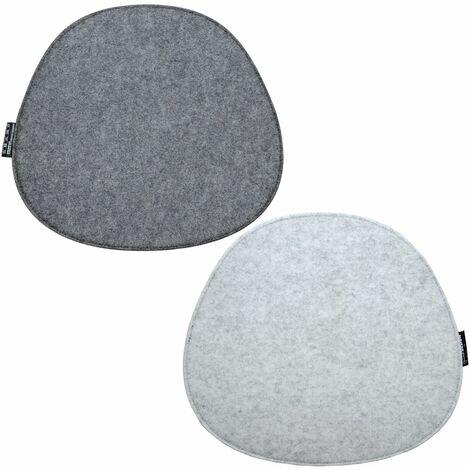 2 Cojines de asiento de Fieltro para Sillas 40x37x0,8 cm Ovalado Bicolor Gris