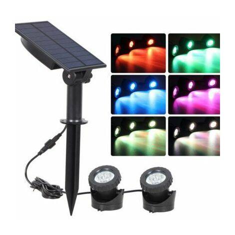 2 COLORFUL led Light Solar Garden House Spot Lights