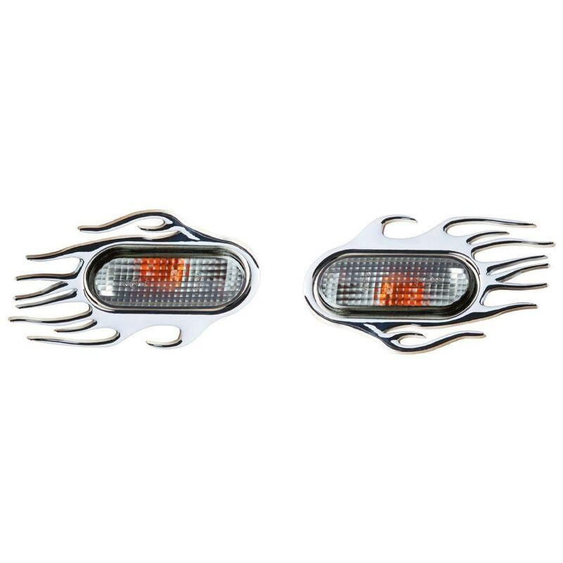 2 contours de repetiteurs chromes -Flaming- compatible avec VW et Seat