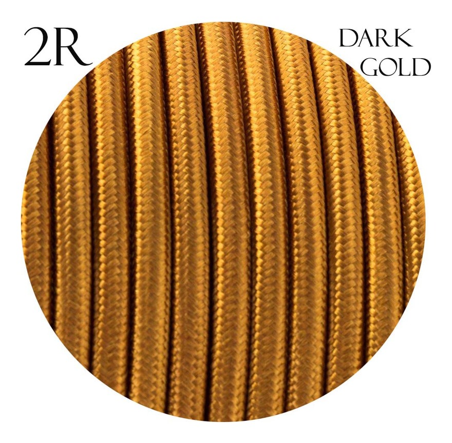 Image of 2 core Round Vintage Braided Fabric Gold Coloured Cable Flex 0.75mm - LEDSONE