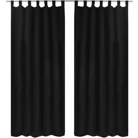 2 cortinas negras micro-satinadas con trabillas, 140 x 245 cm