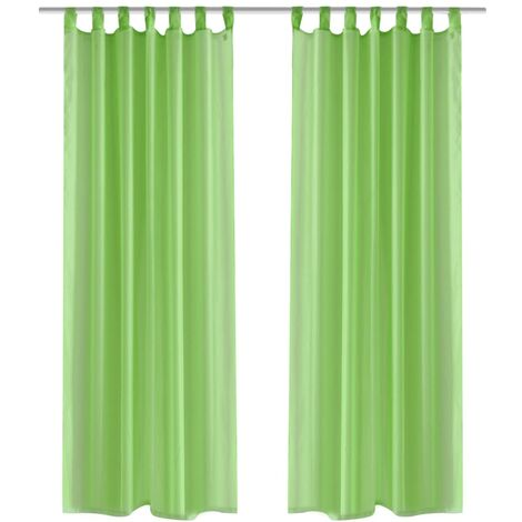 2 Cortinas verdes transparentes 140 x 245 cm