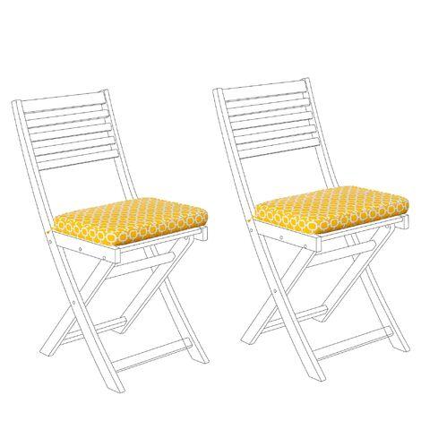 2 coussins d'assise jaunes pour chaises de jardin bistrot