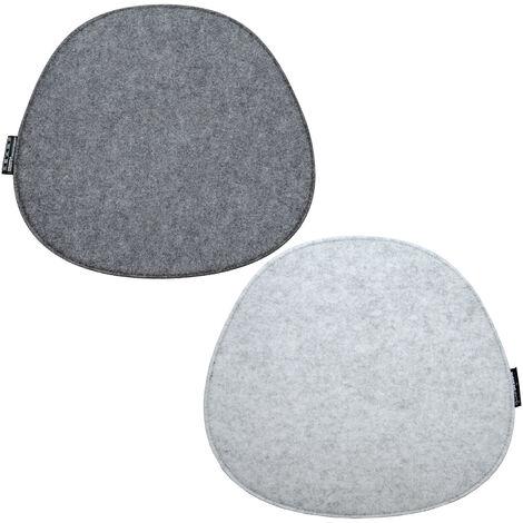 2 Coussins de Siège en Feutre Ovale 40x37x0,8cm Coussin d'Assise Réversible Gris