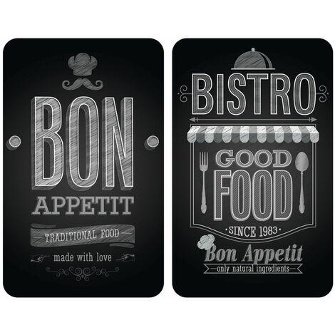 2 Couvre-plaques universel Bistrot - 30 x 52 cm - Noir - Noir