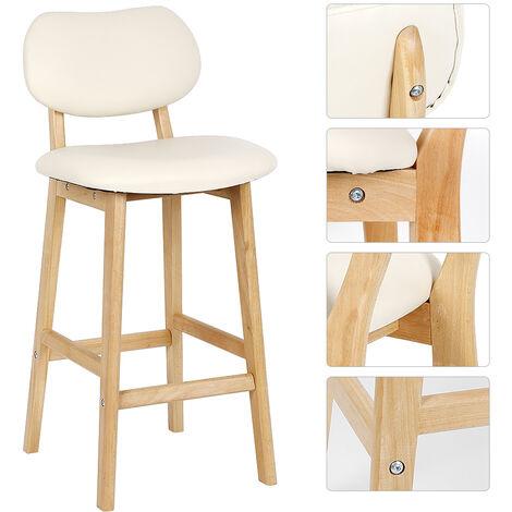 2 cream white beech wood legs single chair / high back bar chair