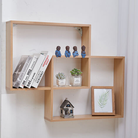 2-Cube Square Wall Floating Wooden Storage Shelves, White